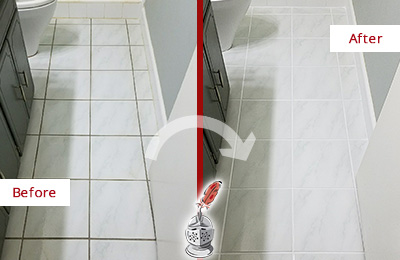 Before and After Picture of a Hollywood White Ceramic Tile with Recolored Grout