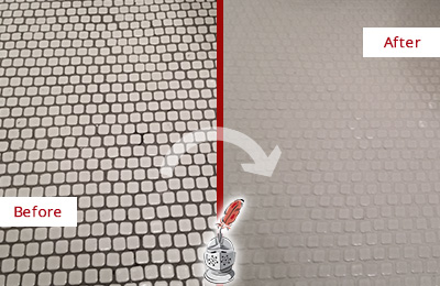 Before and After Picture of a Hollywood White Mosaic Tile Recolored Grout