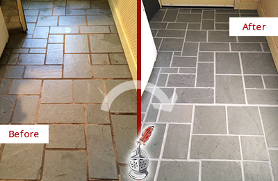 Before and After Picture of Damaged Isle of Palms Slate Floor with Sealed Grout