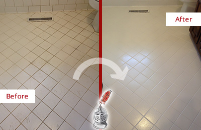 Before and After Picture of a North Charleston White Bathroom Floor Grout Sealed for Extra Protection