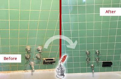 Before and After Picture of a Isle of Palms Bath Tub Grout Sealed to Avoid Water Damage