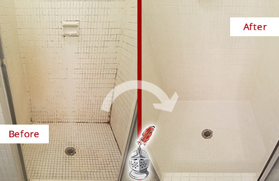 Before and After Picture of a North Charleston Bathroom Grout Sealed to Remove Mold