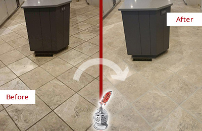 Before and After Picture of a Isle of Palms Kitchen Floor Grout Sealed to Remove Stains