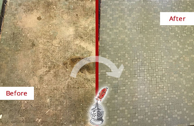 Before and After Picture of a Awendaw Mosaic Shower Cleaned to Eliminate Embedded Dirt
