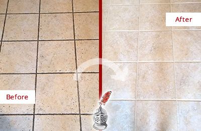 Before and After Picture of a Awendaw Ceramic Floor Cleaned to Remove Soil